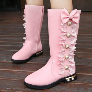 女童靴子2018秋季新款加绒高靴宝宝中大童长靴韩版冬季马丁靴棉靴