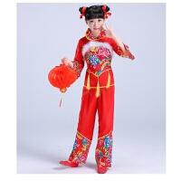 元旦儿童演出服装女童民族舞秧歌舞表演服幼儿喜庆开门红舞蹈衣服 羽毛款 110cm