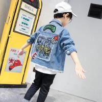 2019新款男童牛仔褂流儿童牛仔外套印花小男孩子帅气牛仔服