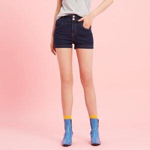 【领券即享100元任选4件】美特斯邦威牛仔短裤女士夏装时尚高腰修身显瘦热裤学生流