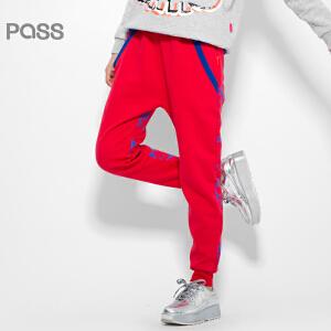 【不退不换】PASS原创潮牌冬装 大红色印花抽绳腰哈伦式休闲裤女6541961185
