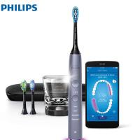 飞利浦 (PHILIPS) 电动牙刷 蓝牙版 成人声波震动钻石系列(自带刷头*3+皮质旅行盒+充电玻璃杯) HX990