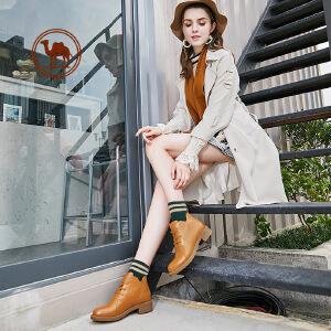 骆驼牌女鞋真皮靴子秋季英伦风马丁靴高帮女士工装短靴百搭女靴
