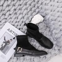 复古皮带扣圆头套筒袜靴女 2018秋冬新款平底平跟显瘦弹力短靴女 黑色