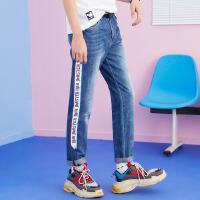 美特斯邦威牛仔裤男破洞宽松夏季新款迪士尼韩版长裤商场款