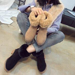 女式 流行冬季新款保暖翻边毛毛粗跟时尚女靴休闲雪地靴
