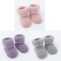 婴儿袜子秋冬袜0-1-3岁宝宝袜新生儿松口加厚保暖6个月12 粉+紫+灰 加绒3双装