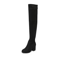长靴女过膝高跟粗跟长筒单靴冬秋高筒女靴子2018新款