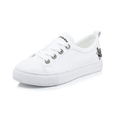 WARORWAR新品YG29-19-B31冬季休闲欧美头层牛皮里外全皮平底舒适蝴蝶女板鞋小白鞋