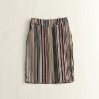 新款女秋装半身裙 包臀显瘦色织波西米亚复古打底中裙 10
