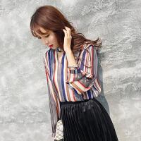 春装新款韩版挂脖竖条纹长袖雪纺衫女气质宽松显瘦打底衫上衣