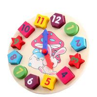 【悦乐朵玩具】儿童早教益智八音手敲琴彩色卡通兔子时钟认知拼板拼图木质玩具1-3-6岁