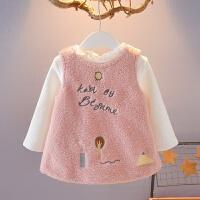 韩版0-1-2-3岁女宝宝秋冬装女童加厚套装背心裙两件套婴幼儿衣服