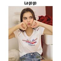 Lagogo/拉谷谷2019年夏季新款时尚学院风字母短袖T恤HATT315Y06