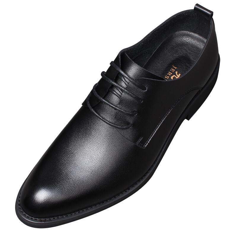 秋季男士皮鞋男真皮黑色尖头正装商务休闲英伦韩版青年新郎婚礼鞋