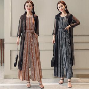 风轩衣度 时尚套装连体裤阔腿裤披肩两件套韩版时尚条纹气质 2521-1826