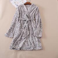 女装家居服休闲男女可穿灰色豹纹摇粒绒浴袍舒适睡袍 A153