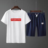 纯棉套装男夏季薄跑步健身服短袖五分短裤棉t恤夏天运动衣服装