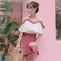 夏装新款韩版宽松显瘦吊带露肩上衣+高腰荷叶边半身裙时尚套装女