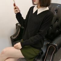 娃娃领毛衣女上衣春秋新款韩版时尚百搭宽松套头短款打底针织衫潮
