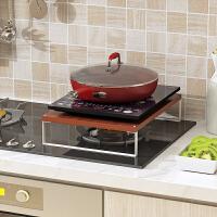 厨房置物架电磁炉架子电饭煲架电炒锅架煤气灶盖板微波炉置物架 白色支架 + 柚木色面板