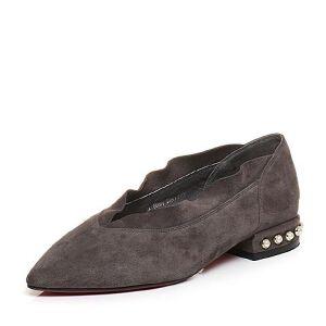 Tata/他她2017秋羊绒皮波浪小v口尖头鞋方跟奶奶鞋FU501CQ7