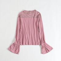 春款新女长袖针织衫 蕾丝拼接镂空喇叭袖甜美套头打底衫2D