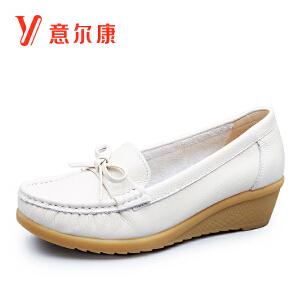 意尔康女鞋时尚豆豆鞋真皮护士鞋女士单鞋