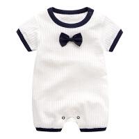 新生儿衣服夏季0初生婴儿纯棉连体衣短袖外出3个月小宝宝夏装哈衣