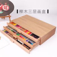 榉木抽屉木质画架画盒桌面油画箱素描彩铅收纳盒画画画板画架套装支架式素描写生画板美术艺考工具