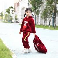 宝宝加绒加厚丝绒三件套装儿童秋冬男童2018新款女童棉衣