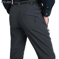 冲锋裤男士户外登山软壳速干长裤秋冬加绒弹力防风防水