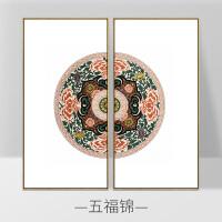 中式装饰画民族风锦绣壁画大气单幅壁画客厅挂画抽象沙发背景墙 FP-01组合 50*100cm 黑色画框 防水油画布+手