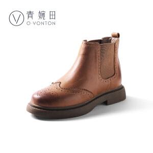 青婉田切尔西短靴女马丁靴女英伦春季靴子加绒学生切尔西靴女二棉鞋女冬
