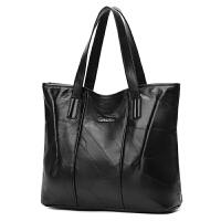 女包真皮单肩手提包新款大包包羊皮包大容量大气简约韩版百搭 黑色