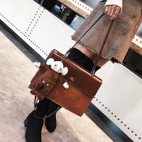 大包包女冬新款潮韩版百搭单肩包大包时尚撞色斜挎女包送挂件