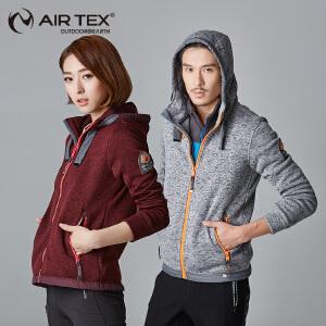 AIRTEX亚特户外男女款保暖连帽针织外套新款秋冬休闲服