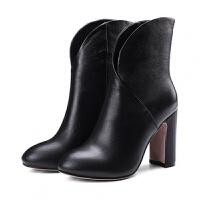 高跟�窝プ优�秋款2018新款短靴女士粗跟�A�^真皮靴冬秋女鞋子百搭女鞋 黑色(�卫�) 37