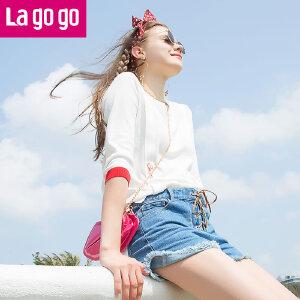 Lagogo2018年夏季新款套头卫衣九分袖白色上衣 刺绣绑带针织衫女HAMM333Y20