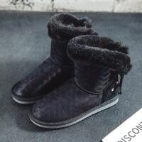 雪地靴女中筒冬季棉鞋短靴2018新款防滑面包鞋保暖加绒切尔西短筒