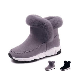 WARORWAR新品YM161-176冬季欧美平底舒适兔毛女士雪地靴