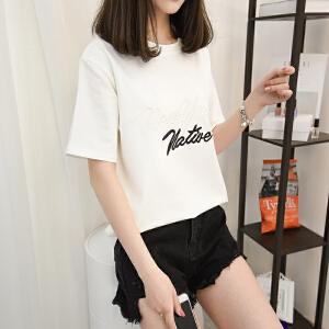 2018夏季白色印花短袖T恤女韩版显瘦宽松体恤学生半袖上衣打底衫
