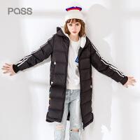 pass日系潮牌2017冬装新款直筒连帽羽绒服女中长款保暖加厚大衣