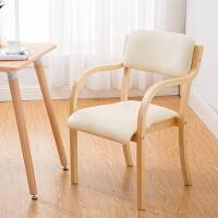 现代简约北欧实木餐椅日式曲木布艺椅靠背扶手家用办公书桌