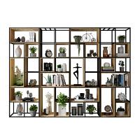 北欧实木书架置物架办公室工业风铁艺隔断屏风客厅定制装饰展示架