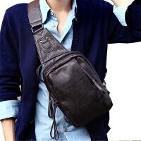 日韩男包胸包斜挎包男式挎包学生休闲包斜挎韩版单肩包男士肩挎包 咖啡色 皮质胸包