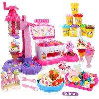 迪士尼儿童橡皮泥玩具彩泥套装无毒手工泥粘土雪糕机模具工具女孩