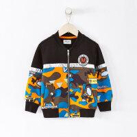 【断码清仓】moomoo童装男童外套2019新款春装迷彩相拼洋气中大儿童针织开衫