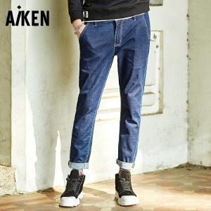 Aiken爱肯牛仔裤2018年春季新款潮流修身牛仔长裤弹力直筒裤男装