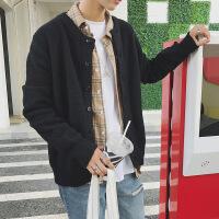 春季男士开衫毛衣日系加肥加大码休闲针织衫宽松外套韩版潮流胖子 黑色